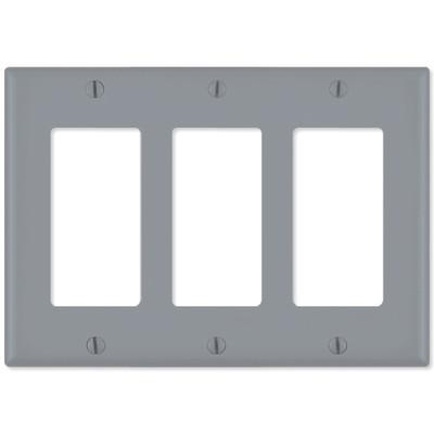Leviton Decora Wallplate, 3-Gang, Gray
