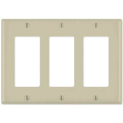 Leviton Decora Wallplate, 3-Gang, Ivory