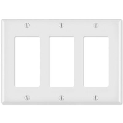 Leviton Decora Wallplate, 3-Gang, White