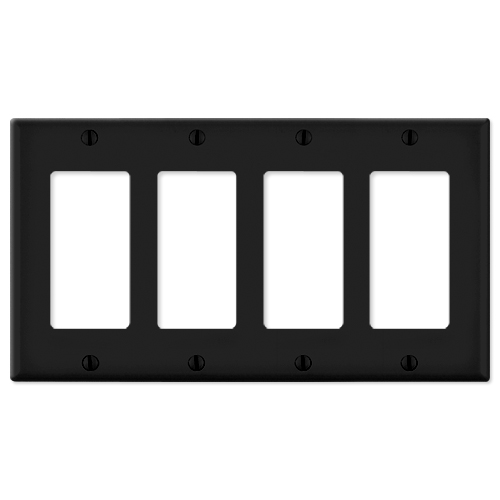 Leviton Decora Wallplate, 4-Gang, Black