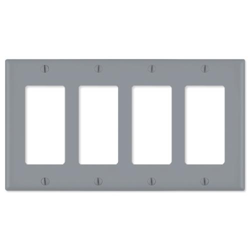 Leviton Decora Wallplate, 4-Gang, Gray