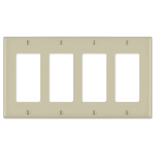 Leviton Decora Wallplate, 4-Gang, Ivory