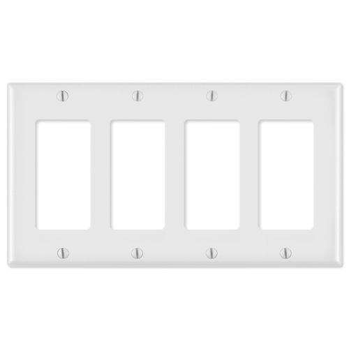 Leviton Decora Wallplate, 4-Gang, White