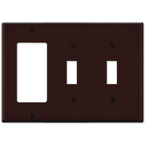 Leviton Combination Wallplate (1 Decora & 2 Toggle), Brown