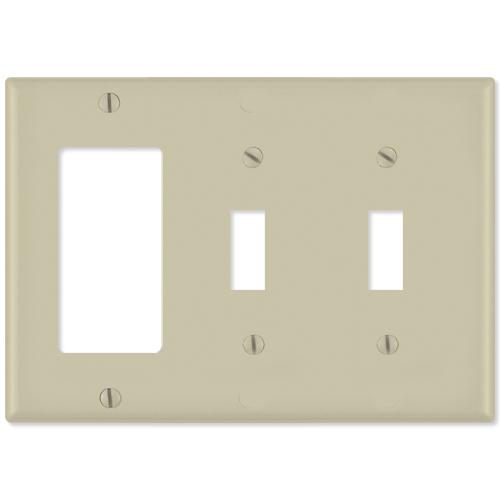 Leviton Combination Wallplate (1 Decora & 2 Toggle), Ivory