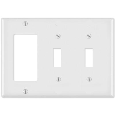 Leviton Combination Wallplate (1 Decora & 2 Toggle), White