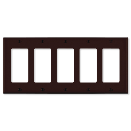 Leviton Decora Wallplate, 5-Gang, Brown