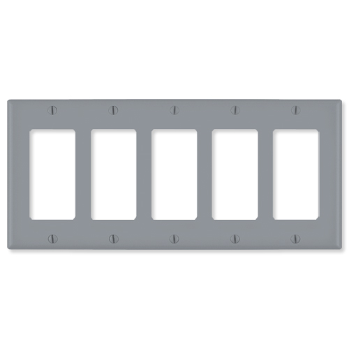Leviton Decora Wallplate, 5-Gang, Gray