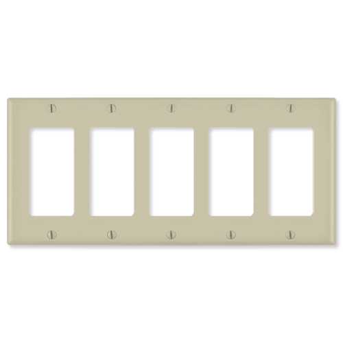 Leviton Decora Wallplate, 5-Gang, Ivory