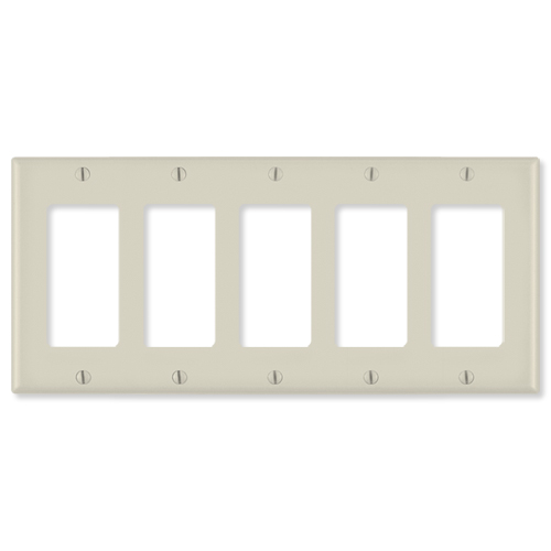 Leviton Decora Wallplate, 5-Gang, Light Almond