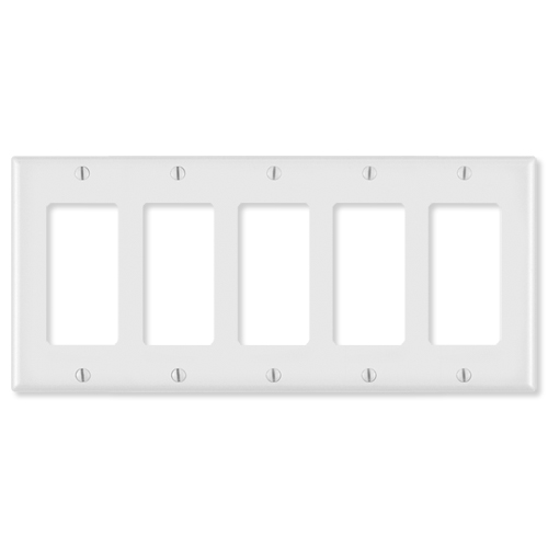 Leviton Decora Wallplate, 5-Gang, White