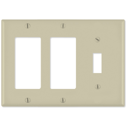 Leviton Combination Wallplate (2 Decora & 1 Toggle), Ivory