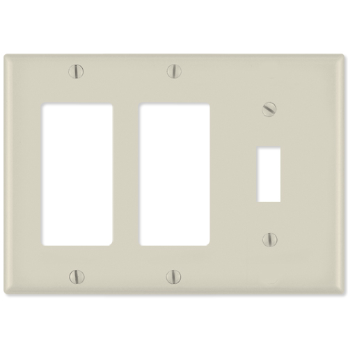Leviton Combination Wallplate (2 Decora & 1 Toggle), Light Almond