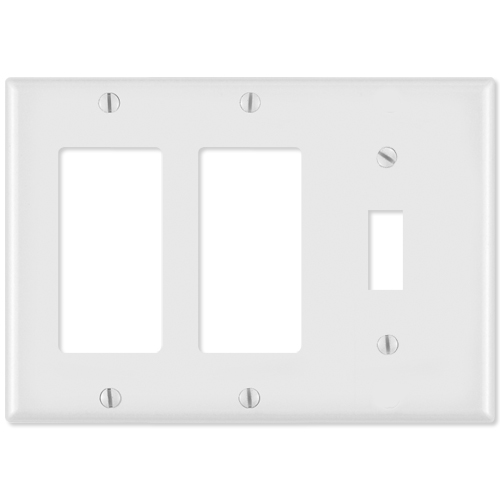 Leviton Combination Wallplate (2 Decora & 1 Toggle), White