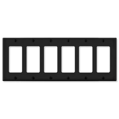 Leviton Decora Wallplate, 6-Gang, Black