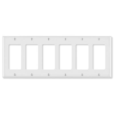Leviton Decora Wallplate, 6-Gang, White
