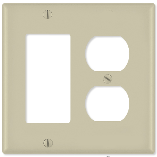 Leviton Combination Wallplate (1 Decora & 1 Duplex Receptacle), Ivory