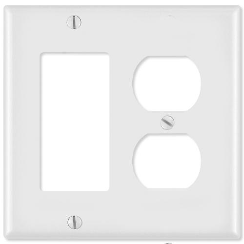 Leviton Combination Wallplate (1 Decora & 1 Duplex Receptacle), White