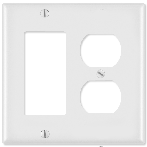 Leviton Combination Wallplate (1 Decora & 1 Duplex Receptacle), Brown