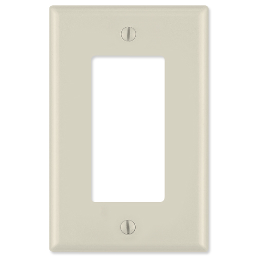 Leviton Decora Wallplate, 1-Gang, Midway Size, Light Almond