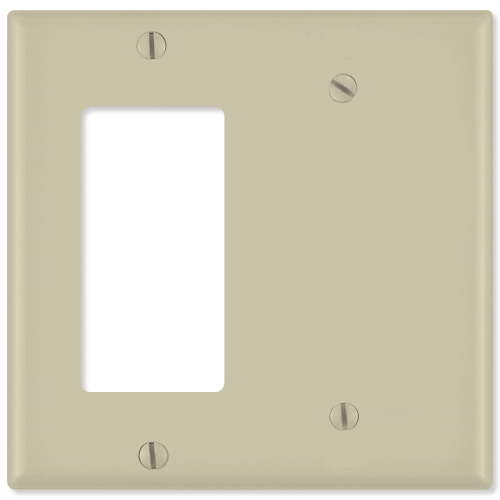 Leviton Combination Wallplate (1 Decora & 1 Blank), Ivory