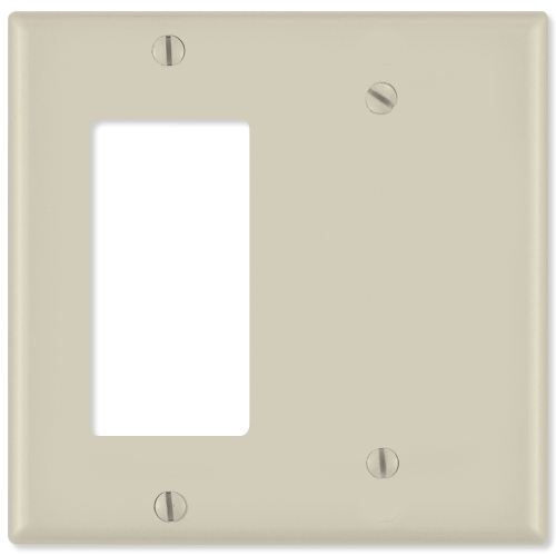 Leviton Combination Wallplate (1 Decora & 1 Blank), Light Almond