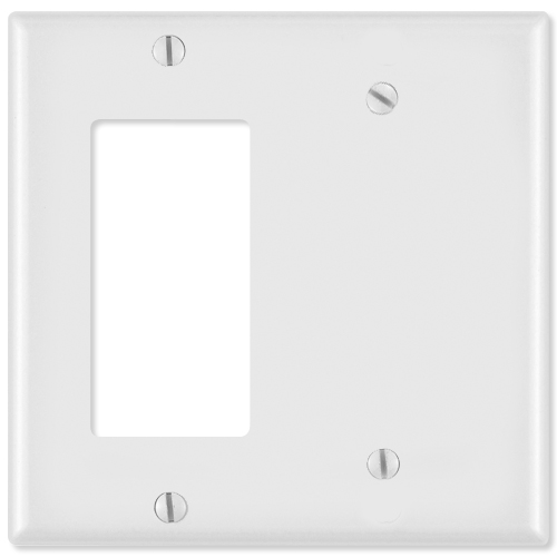 Leviton Combination Wallplate (1 Decora & 1 Blank), White