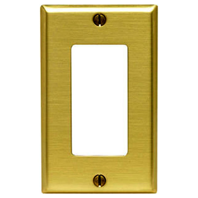 Leviton Decora Wallplate, 1-Gang, Metallic, Brass