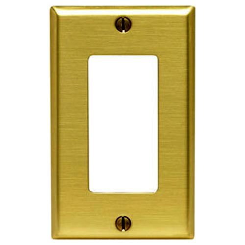 Leviton Decora Wallplate, 1-Gang, Metallic, Brass