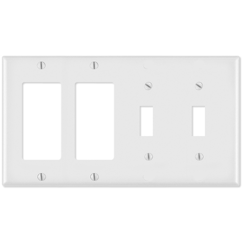 Leviton Combination Wallplate (2 Decora & 2 Toggle), White