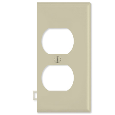 Leviton Duplex Receptacle Sectional Wallplate (End Section), Ivory