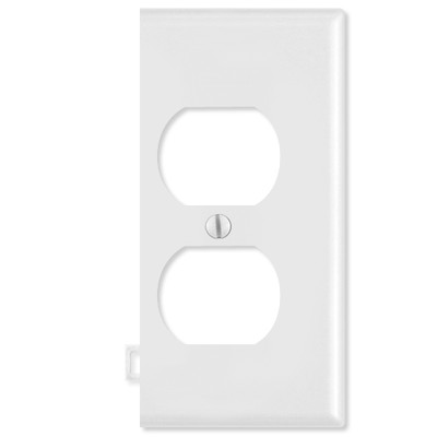 Leviton Duplex Receptacle Sectional Wallplate (End Section), White