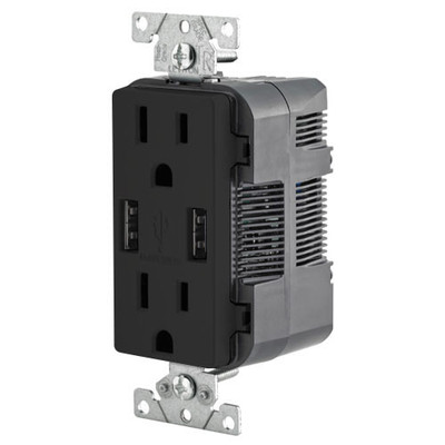 Leviton 2-Port USB Charger & Tamper-Resistant Duplex Receptacle, 15A, Black