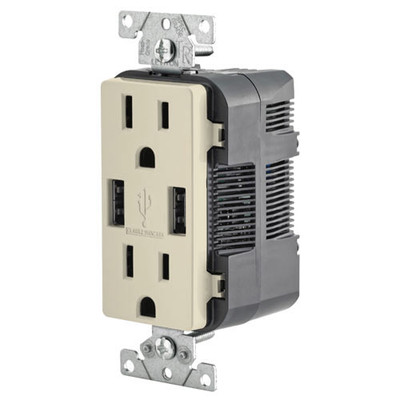 Leviton 2-Port USB Charger & Tamper-Resistant Duplex Receptacle, 15A, Light Almond
