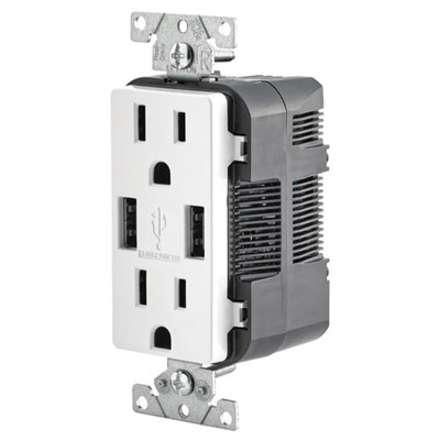 Leviton 2-Port USB Charger & Tamper-Resistant Duplex Receptacle, 15A, White