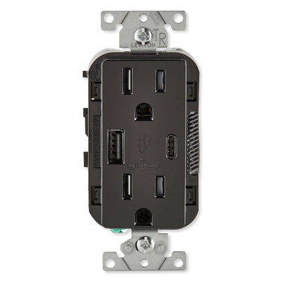 Leviton Decora USB Type-A/Type-C Wall Outlet Charger, 15A, Black