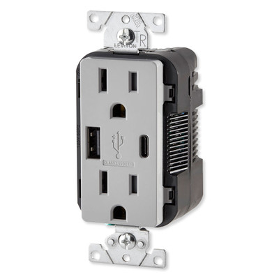 Leviton Decora USB Type-A/Type-C Wall Outlet Charger, 15A, Gray