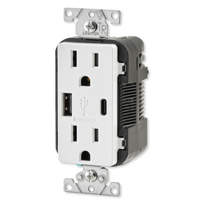 Leviton Decora USB Type-A/Type-C Wall Outlet Charger, 15A, White