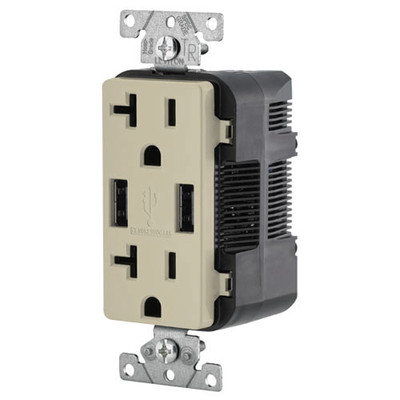 Leviton 2-Port USB Charger & Tamper-Resistant Duplex Receptacle, 20A, Ivory