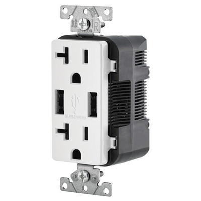 Leviton 2-Port USB Charger & Tamper-Resistant Duplex Receptacle, 20A, White