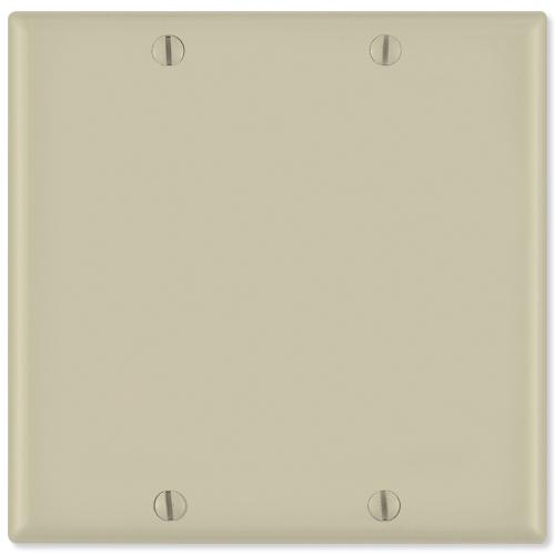 Leviton Blank Wallplate, 2-Gang, Ivory