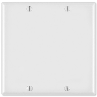 Leviton Blank Wallplate, 2-Gang, White
