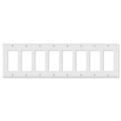 OEM Systems Pro-Wire Decorator Wallplate, 8-Gang, White