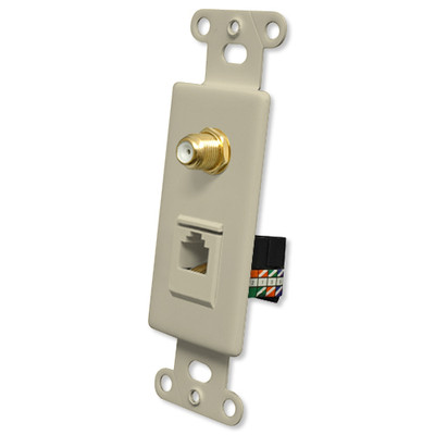 OEM Systems Pro-Wire Combo Jack Plate (1 F, 1 RJ45), Ivory