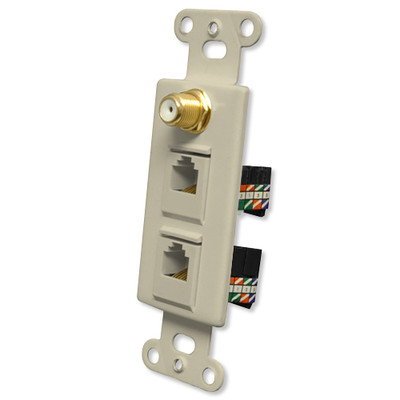 OEM Systems Pro-Wire Combo Jack Plate (1 F, 2 RJ45), Ivory