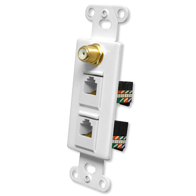 OEM Systems Pro-Wire Combo Jack Plate (1 F, 2 RJ45), White