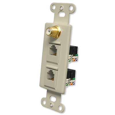 OEM Systems Pro-Wire Combo Jack Plate (1 F, 2 RJ11), Ivory