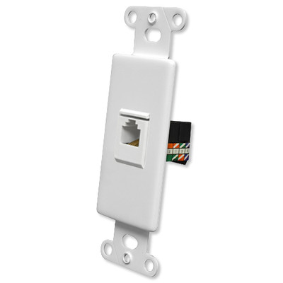 OEM Systems Pro-Wire Jack Plate (1 RJ45), White
