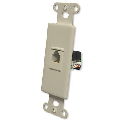 OEM Systems Pro-Wire Jack Plate (1 RJ11), Ivory