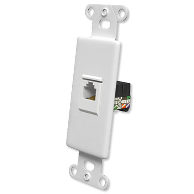 OEM Systems Pro-Wire Jack Plate (1 RJ11), White